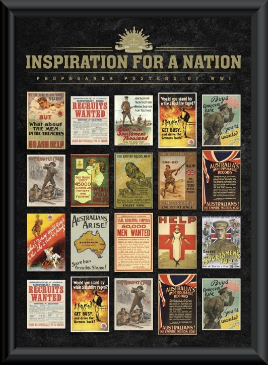 Anzac World War I Propaganda Posters Framed Print
