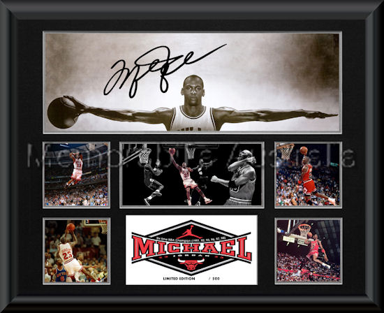 Michael Jordan Le Wings Montage Mat Framed Nba