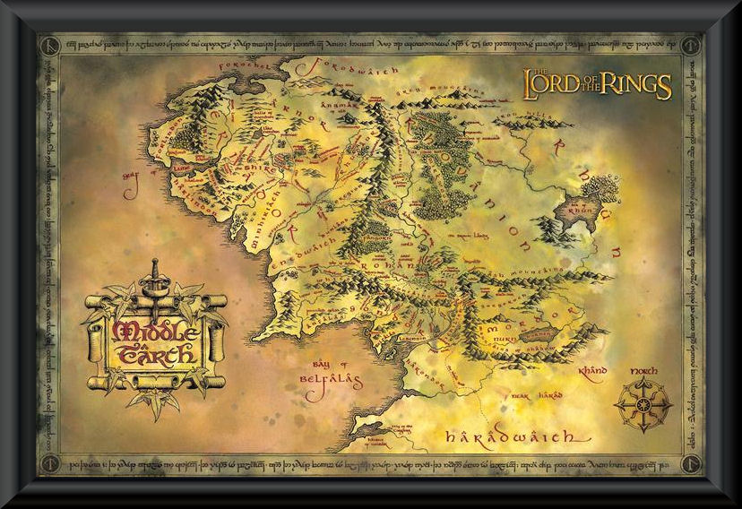 The lord of the rings middle earth map framed poster f k the lord of the rings middle earth map framed poster gumiabroncs Image collections