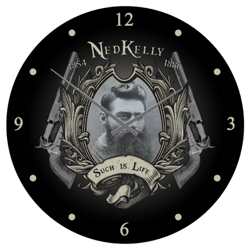 Ned Kelly Glass Wall Clock
