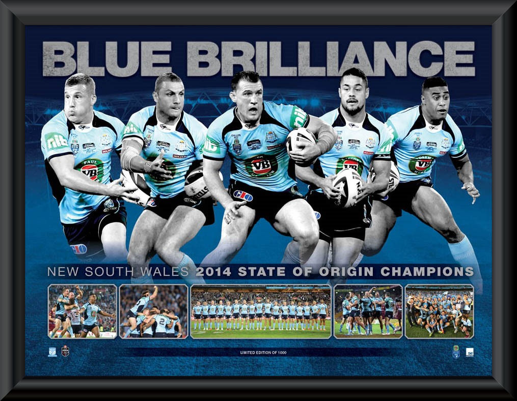 Blue Brilliance 2014 NSW State of Origin Framed Sportsprint