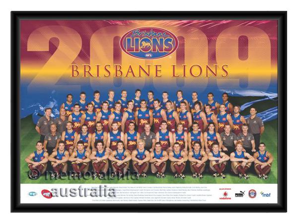 2009 Framed Team Poster Brisbane Lions