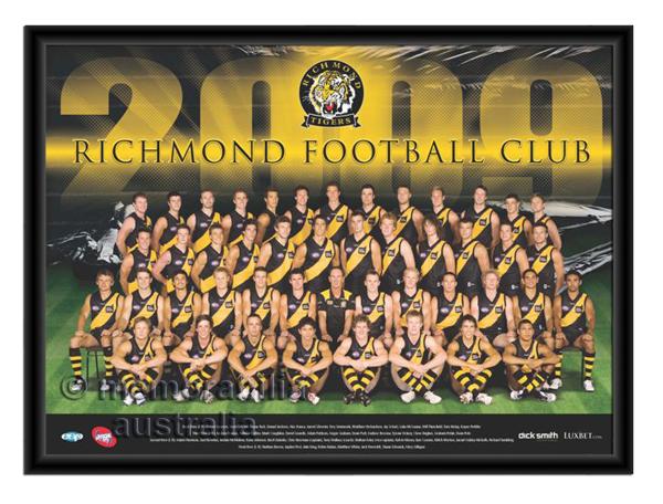 2009 Framed Team Poster Richmond Tigers