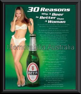 30 Reasons Beer Poster Framed