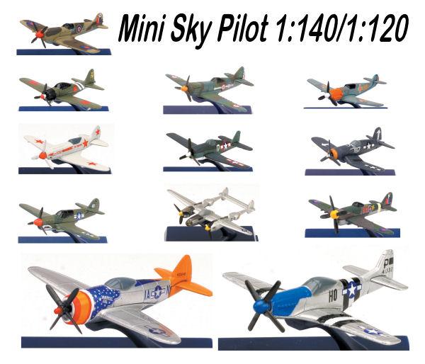 1:140/1-200 Mini Sky Pilot Planes DIECAST  Disp 12
