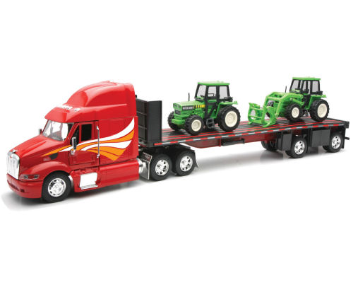 1:32  Peterbilt Model 387 Flatbed Truck with 2 Farm Tractor