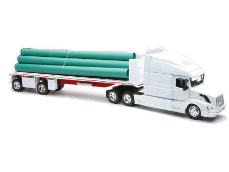1:32 Volvo VN-780 Flatbed Truck with Long Pipe