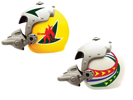 1:6  Fighter Plane Helmet (Yellow/White