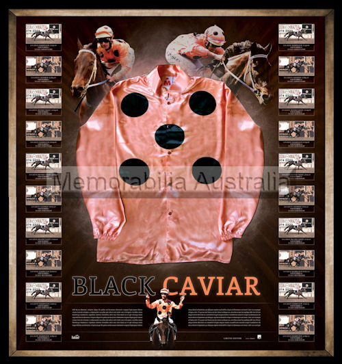Black Caviar framed Replica Mid-Silks