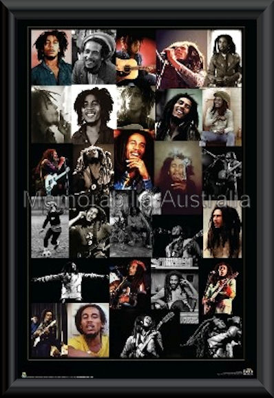 Bob Marley Collage Poster Framed