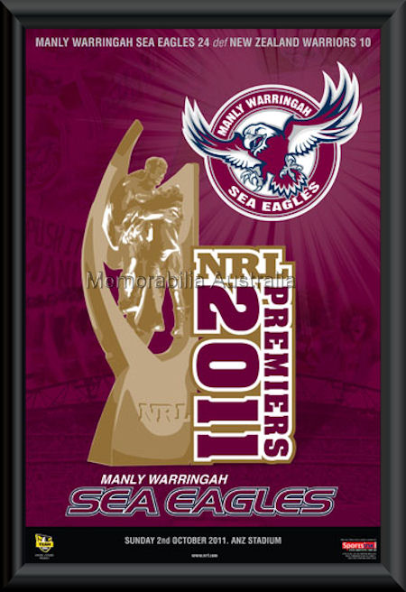Manly 2011 Premiers Poster Framed