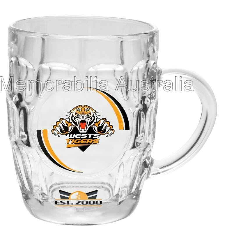 Wests Tigers NRL Dimpled Stein Glass