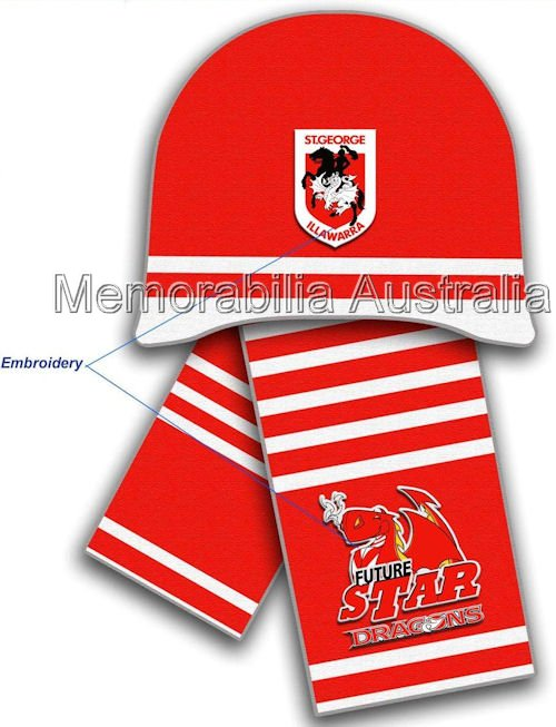 St George Illawarra Dragons NRL Infants Beanie and Scarf Set