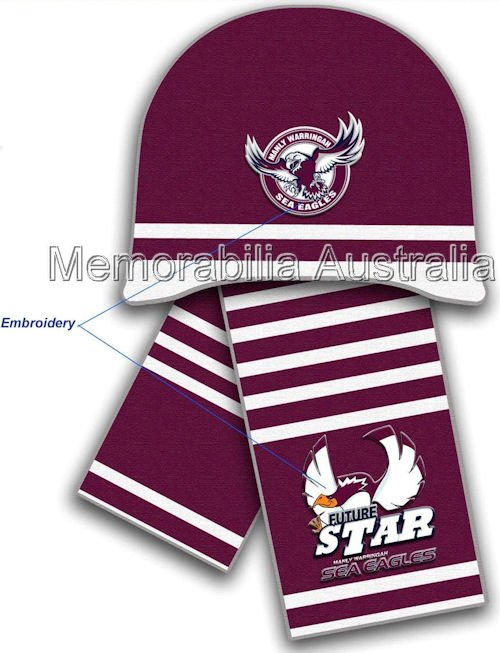 Manly-Warringah Sea Eagles NRL Infants Beanie and Scarf Set