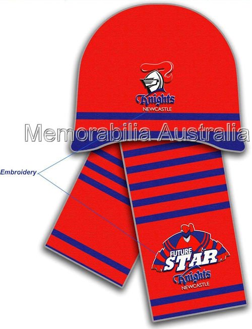 Newcastle Knights NRL Infants Beanie and Scarf Set