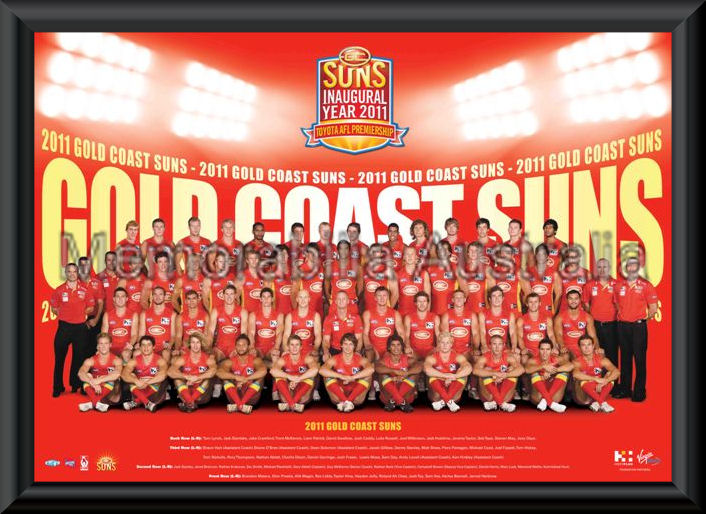 Gold Coast Suns 2011 Team Poster Framed