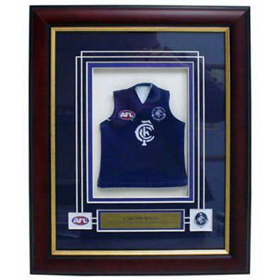 Carlton Blues Framed Mini Jersey