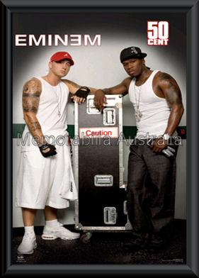 Eminem and 50 Cent Poster Framed