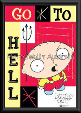 Family Guy Go To Hell Poster Framed
