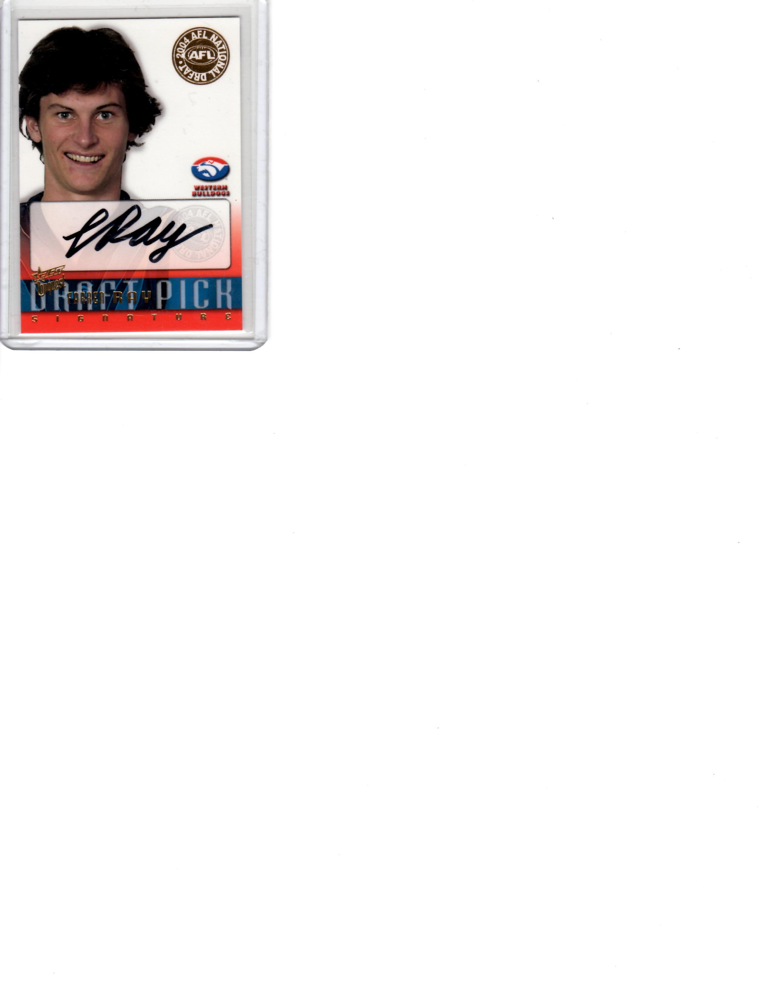 Farren Ray AFL 04 Draft Pick signed