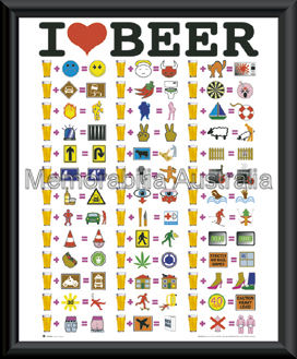 I Luv Beer Mini Poster Framed