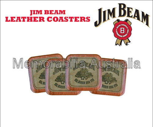 Jim Beam Leather Coasters In Timber