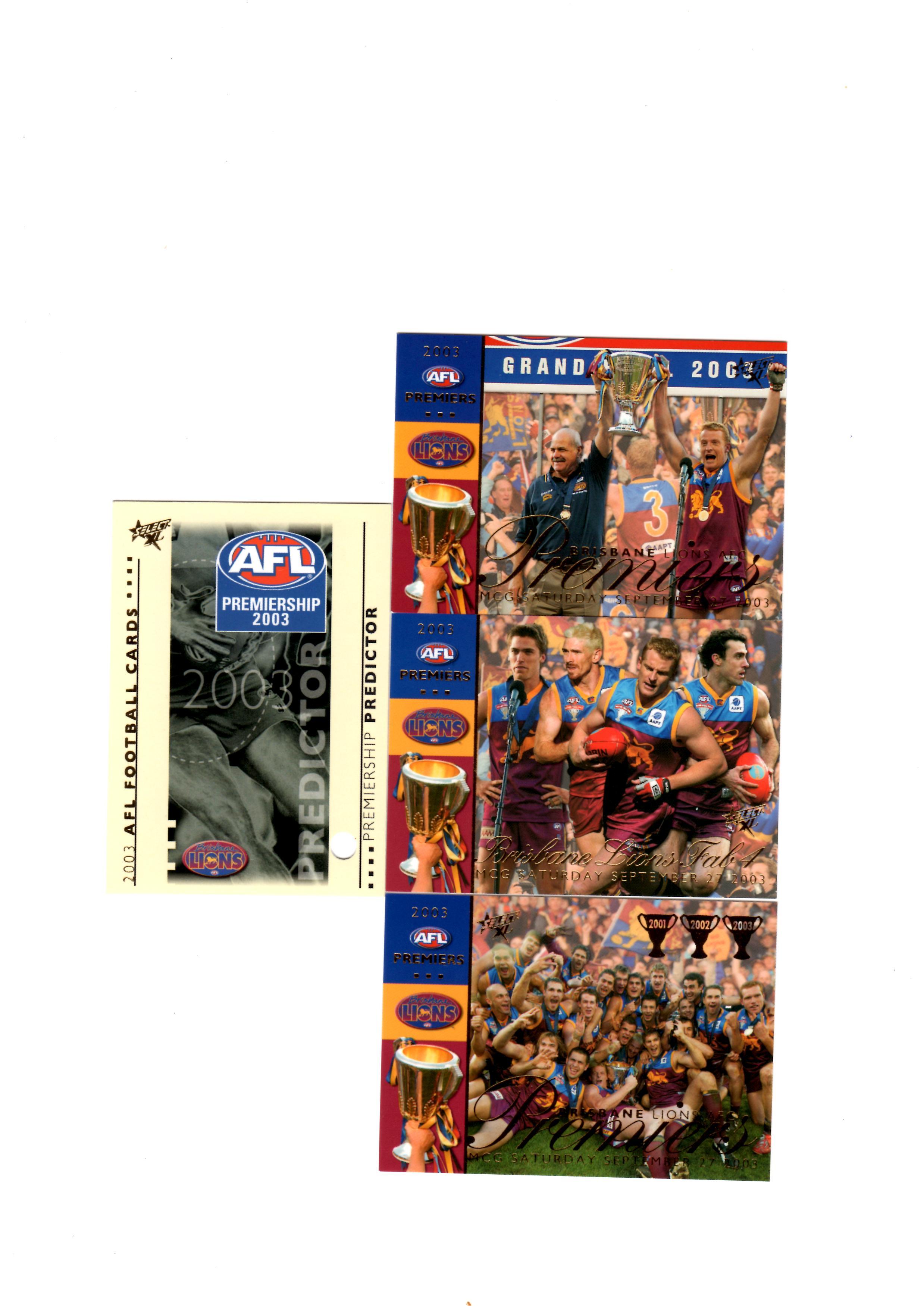 Bribane Lions Predictor Redeemed card x 4