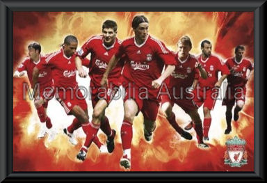 Liverpool 2009/10 Stars Poster Framed