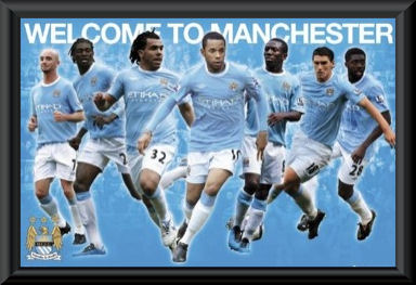 Manchester City 2009/10 Players Poster Framed