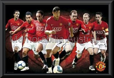 Manchester Utd 2008/09 Players Poster Framed