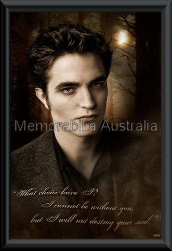 New Moon Edward Writing Poster Framed
