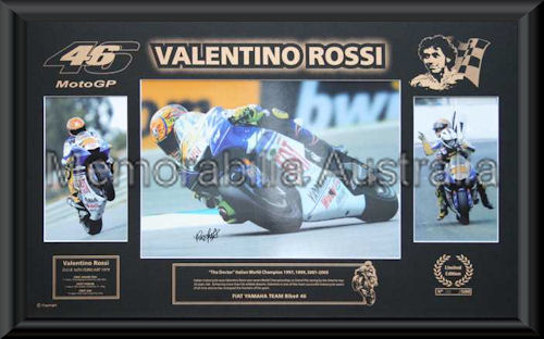 Valentino Rossi Printed Mat Montage Framed