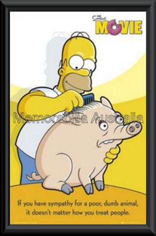 Simpsons Movie Pig Poster Framed
