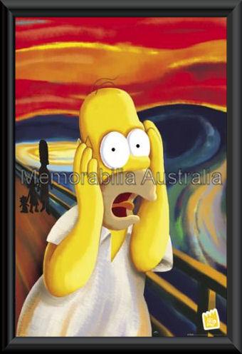 Homer Screaming Poster Framed