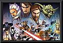 Star Wars Clone Wars Characters Poster Framed