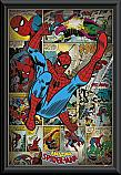 Marvel Comics Spiderman retro kicking poster framed