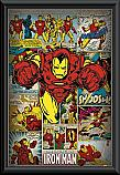 Iron Man retro flying poster framed