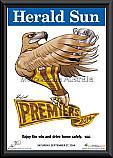 2014 AFL Premiership Hawthorn Hawks Mark Knight poster frame
