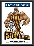 2013 AFL Premiership Hawthorn Hawks Mark Knight poster frame